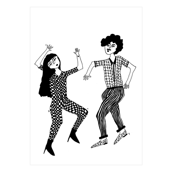 postkaart dancing couple
