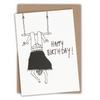 wenskaart happy birthday trapeze girl