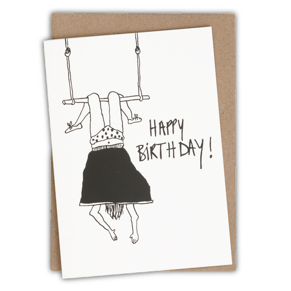 greeting card happy birthday trapeze girl