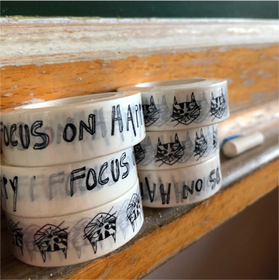 washi tape cat & focus on happy