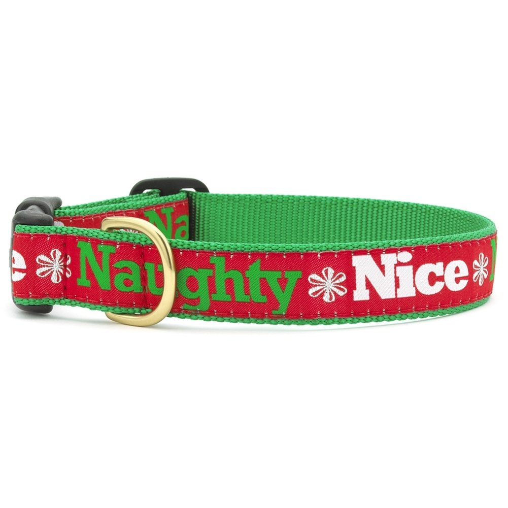 "Up Country Naughty and Nice Holiday Dog Collar- M (12-18""); Wide 1"""
