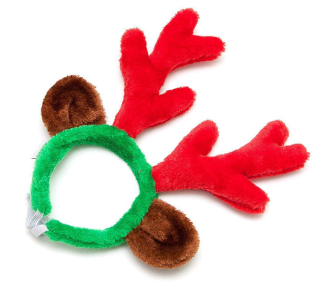 Midlee Reindeer Antlers and Green/Red Bell Collar for Large Dogs