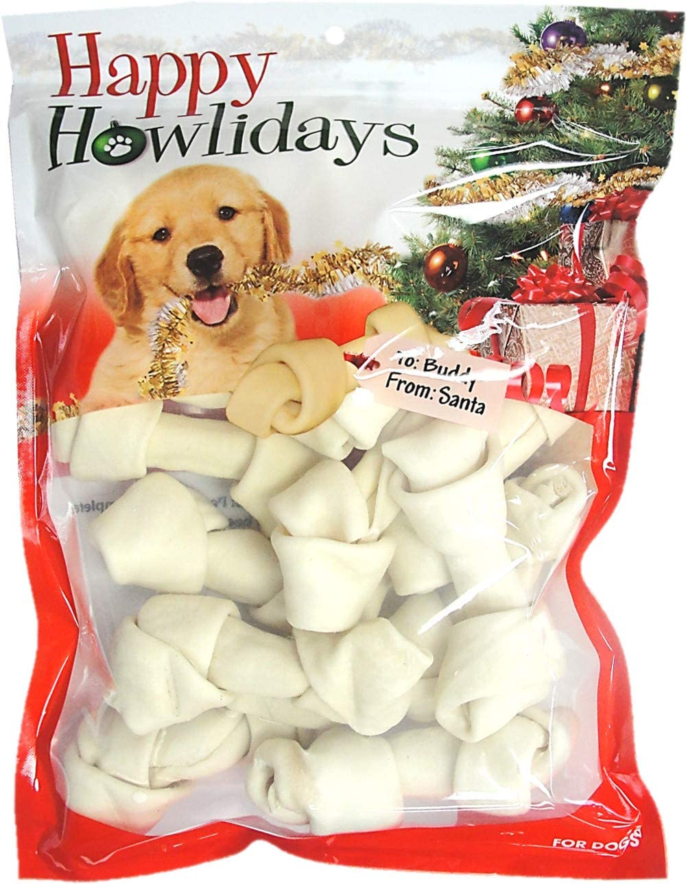 Pet Factory Happy Howlidays American Beefhide Dog Bones 12pk 4-5""