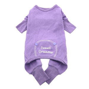 "DOGGIE DESIGN Sweet Dreams Thermal Cotton Pajamas for Dogs by M (16""-19"" girth; 13""-16"" neck), Lilac"