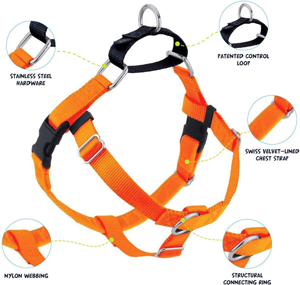 2 Hounds Design Freedom No Pull Dog Harness | Adjustable Gentle Comfortable Control for Easy Dog Walking |for Small Medium and Large Dogs | Made in USA | Neon Orange, Large