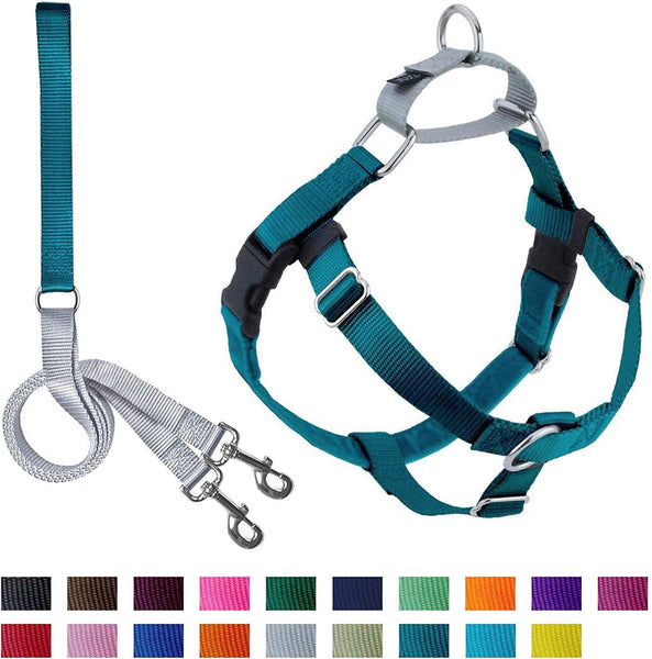 "2 Hounds Design Freedom No-Pull Dog Harness and Leash (Large 1"") (Teal)"