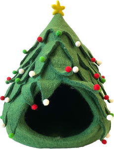 Midlee Christmas Tree Wool Cat Cave Bed