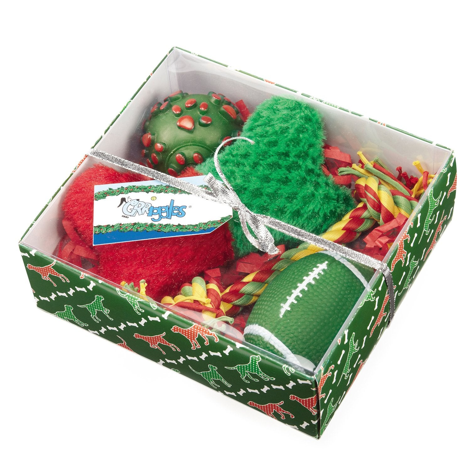 Grriggles Holiday Hound Dog Toys 4-Piece Gift Sets, Green