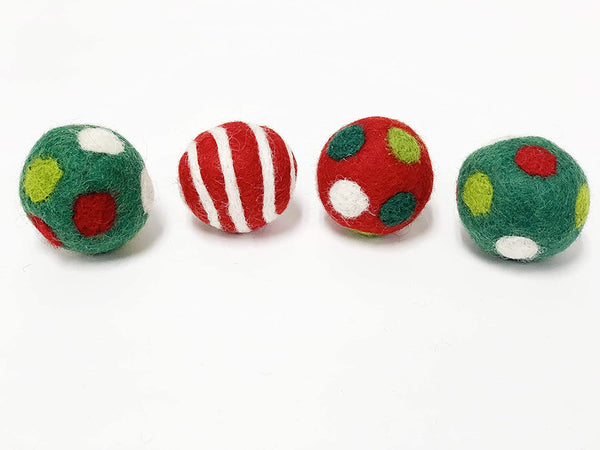 Midlee Designs Candy Cane Wool Ball Filled Cat Toys