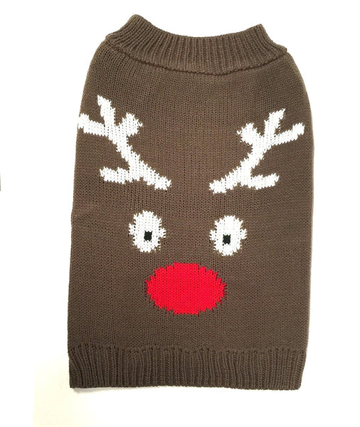 Midlee Reindeer Face Dog Sweater