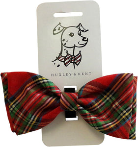 Huxley & Kent Red Plaid Tie Dog Collar Attachment (Bow Tie, Large)