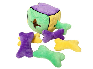 Midlee Plush Find a Bone Cube Dog Toy