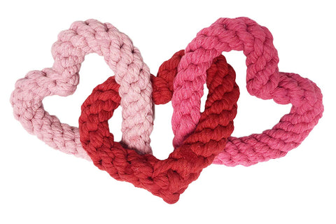 Midlee Interlocking Heart Rope Valentine Dog Toy