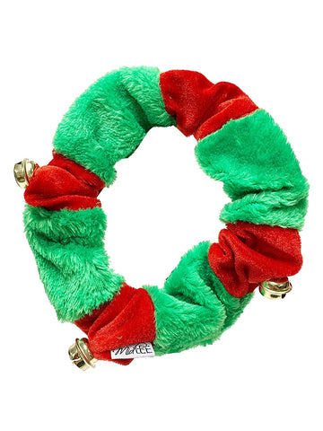 Midlee Red/Green Christmas Plush Bell Collar