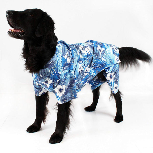 Blue Hawaiian Print Dog Board Shorts by Midlee
