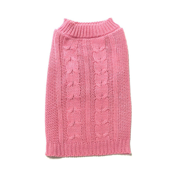 Midlee Cable Knit Dog Sweater - Pink