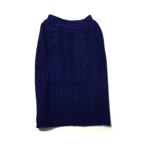 Midlee Cable Knit Dog Sweater -Navy