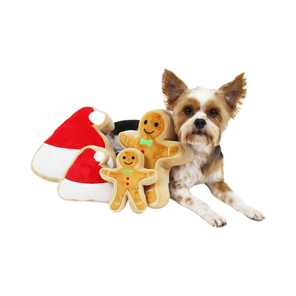 Midlee Christmas Sugar Cookie Plush Dog Toy (Santa Hat, Large)