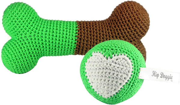 Hip Doggie Dental Dog Toy - Plush Squeaker - pet Teeth Cleaning Tool - chew Crochet to Floss