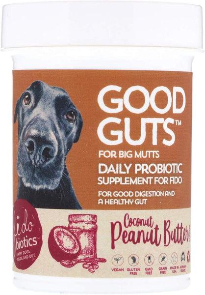 Fidobiotics Good Guts Daily Probiotic for Big Mutts Coconut Peanut Butter 12 Billion CFUs 1 4 oz 40 g
