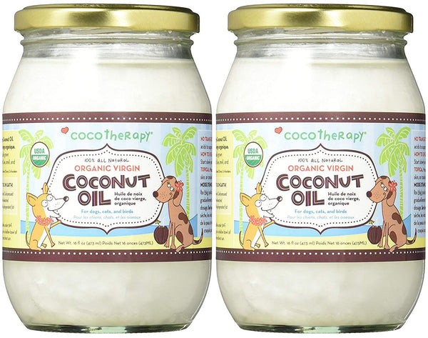(2 Pack) CocoTherapy Organic Virgin Coconut Oil, 16 oz for Pets