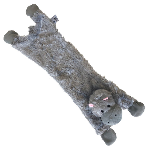 Midlee Hippo Stuffingless Dog Toy