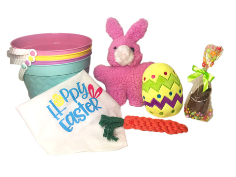 Dog Easter Basket Gift Set: Plush Easter Egg, Rope Carrot, Plush Rabbit, Hoppy Easter Bandana, Bag of Treats by Midlee