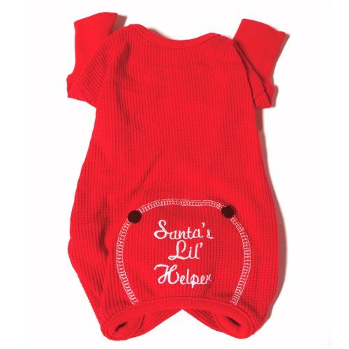 """Santa's Lil Helper"" Embroidered Thermal Dog Pajamas, X-Small"