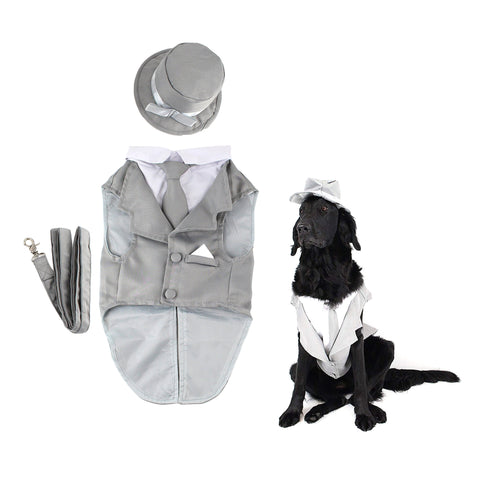 Midlee Dog Tuxedo Wedding Suit- Gray Top Hat & Leash