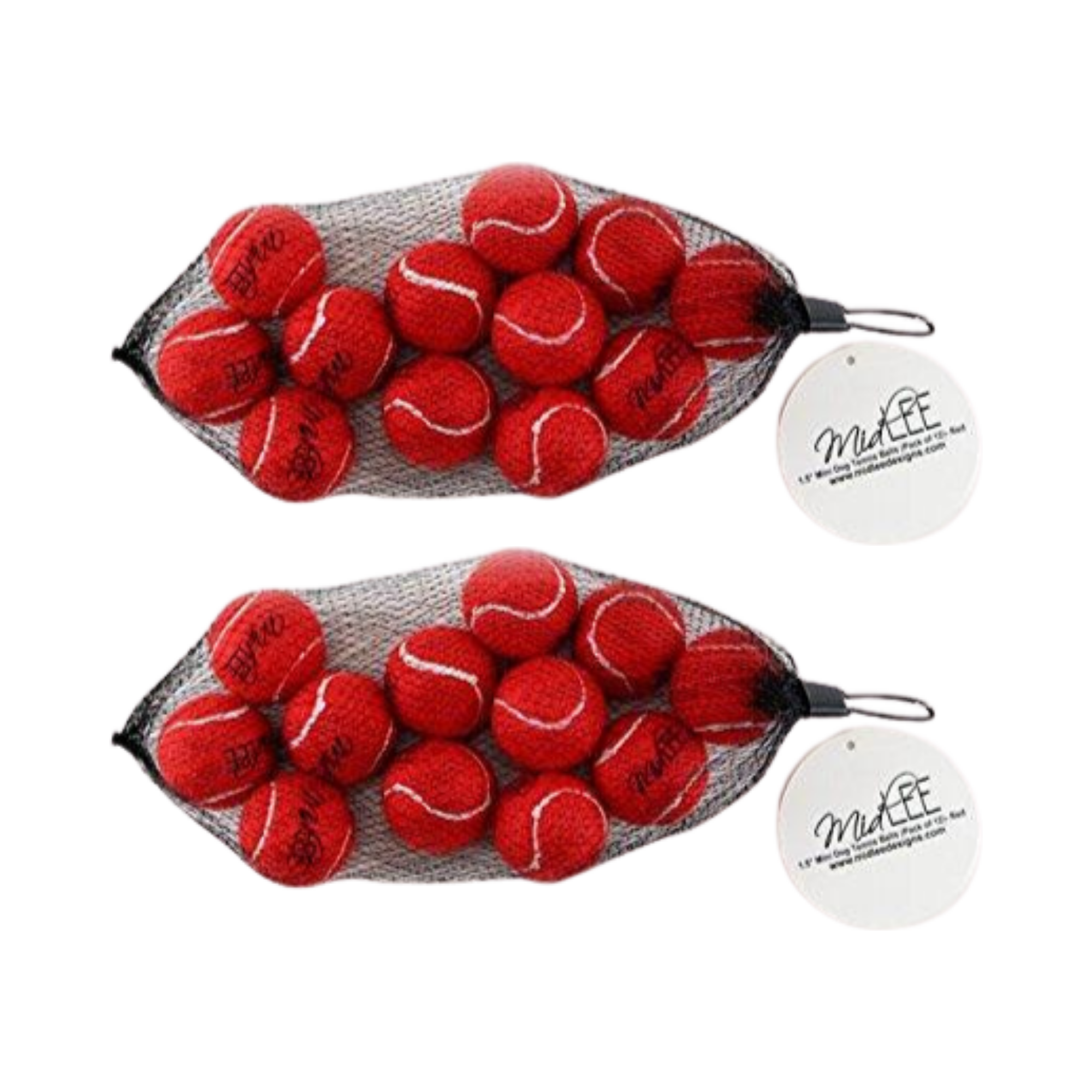 "Midlee X-Small Dog Tennis Balls 1.5"" Pack of 12 (Red, 1.5 inch Set of 2)"