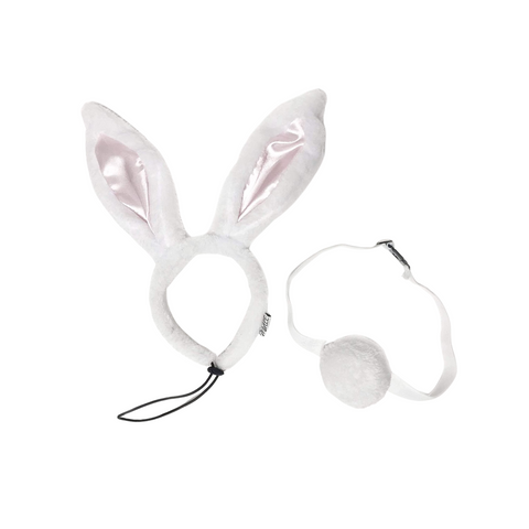 Midlee White Bunny Ears for Dogs with Tail