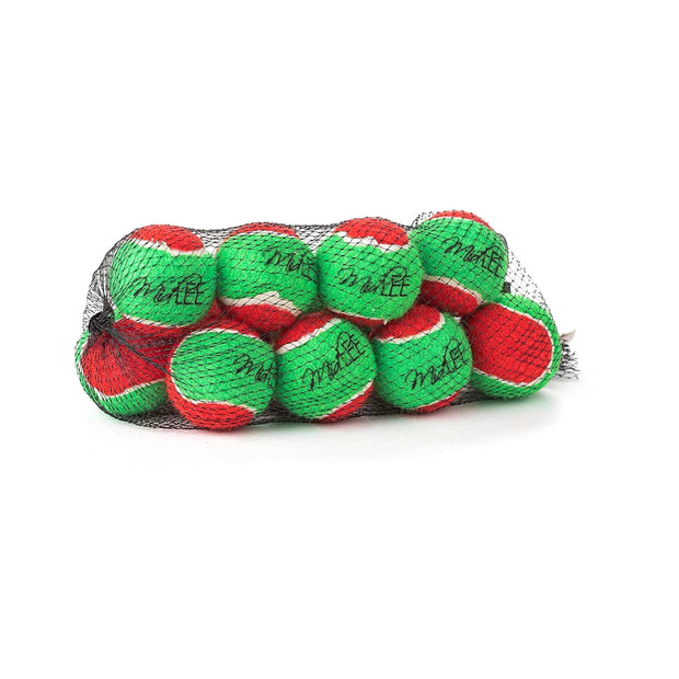 """Midlee 1.5"""" Mini Squeaker Christmas Dog Tennis Balls - Red/Green Pack of 12 1"""