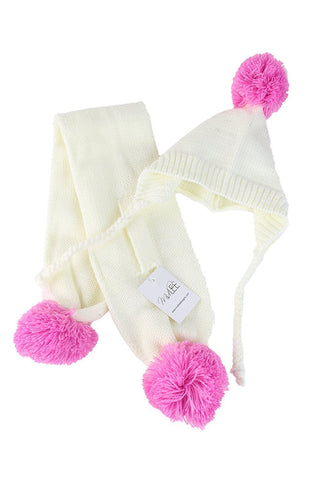 Midlee Small Cream & Pink Pom Pom Dog Hat & Scarf