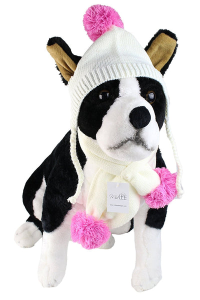 Small Cream & Pink Pom Pom Dog Hat & Scarf by Midlee