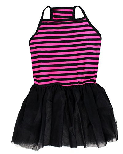 Midlee Pink & Black Stripe Tutu Large Dog Dress