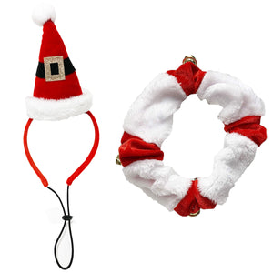 Midlee Santa Hat Headband with Red/White Bell Collar for Large Dogs