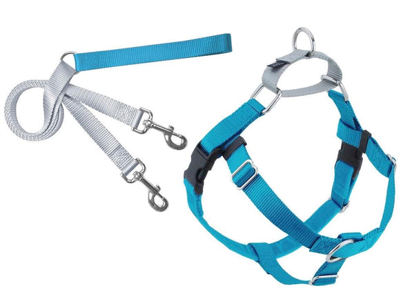 Freedom No Pull Velvet Lined Dog Harness and Leash Training Package Turquoise XL