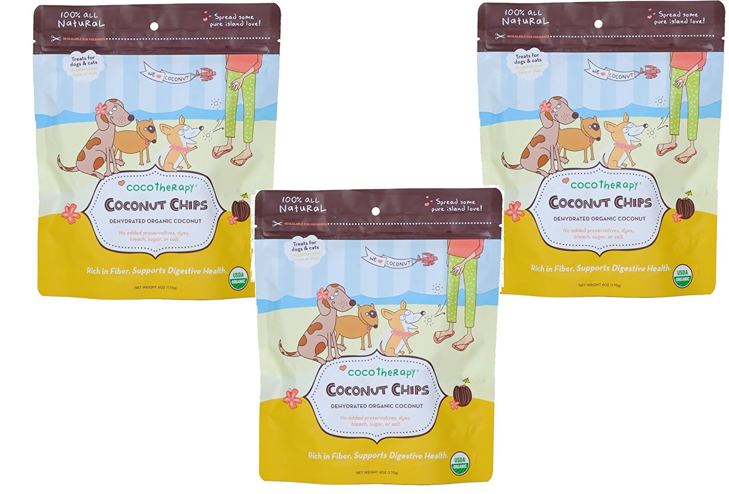 CoCoTherapy Coconut Chips - 6 oz Each (3 Pack)