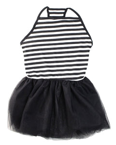Elegant Black & White Stripe Tutu Large Dog Dress by Midlee