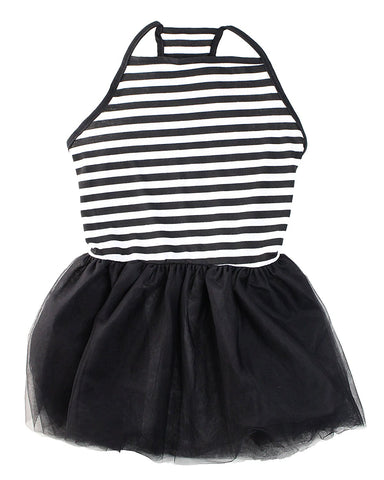 Midlee Elegant Black & White Stripe Tutu Large Dog Dress