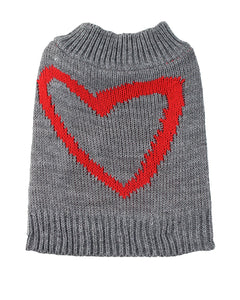 Midlee Red Heart Dog Sweater