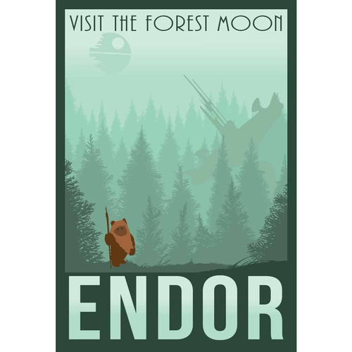 Star Wars Forest Moon of Endor Retro Travel Print