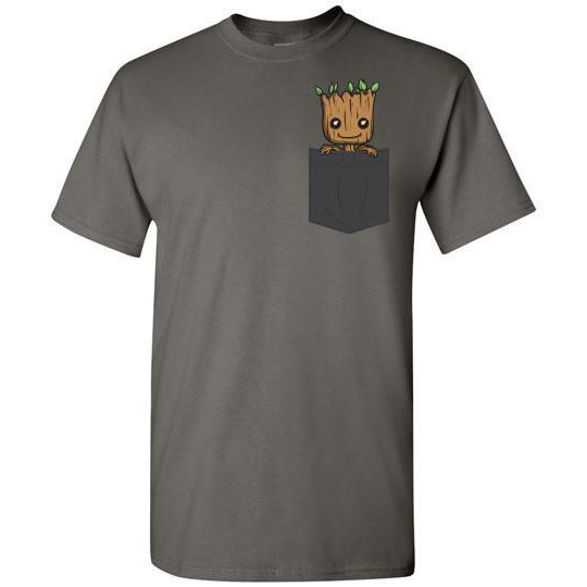 Baby Groot Pocket T-shirt in Dark Colors