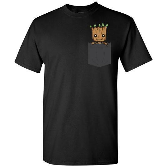 95e3339bcd Baby Groot Pocket T-shirt in Dark Colors – cool fan tees