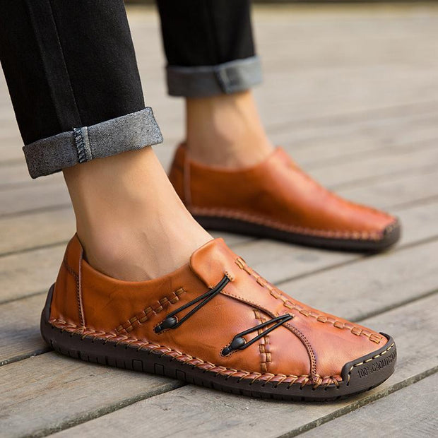 Men's Hand Stitching Stylish Soft Sole Slip On Loafers Casual Leather Shoes