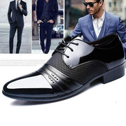 Men Formal Pointed Toe Lace Up Business Blucher Shoes
