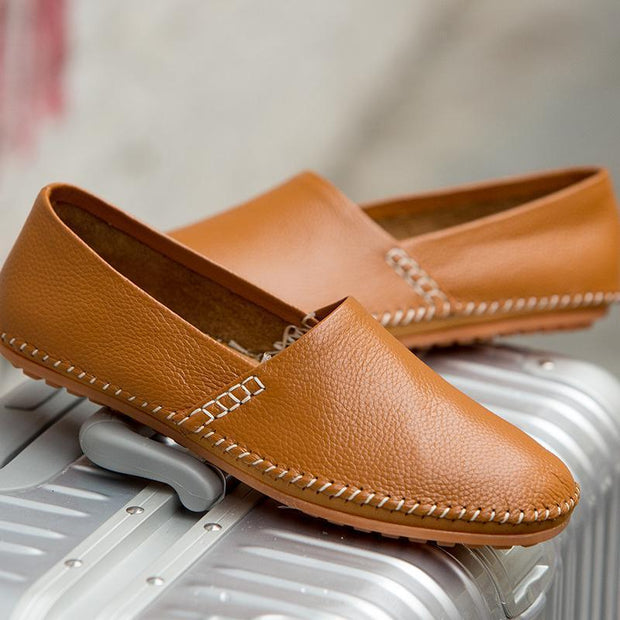 Men Genuine Leather Comfortable Slip On  Driving Loafers