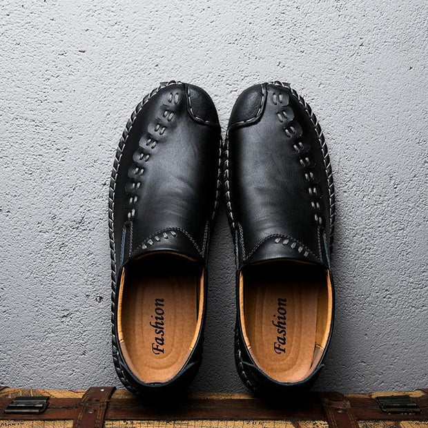 Men's Handmade Leather Stitching Soft Sole Slip On Loafers