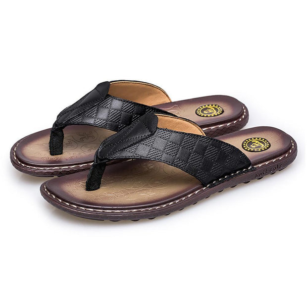Men's Flip Flops Rubber Slippers Comfortable Leather Sandals Summer Outdoor Beach Slippers  127098