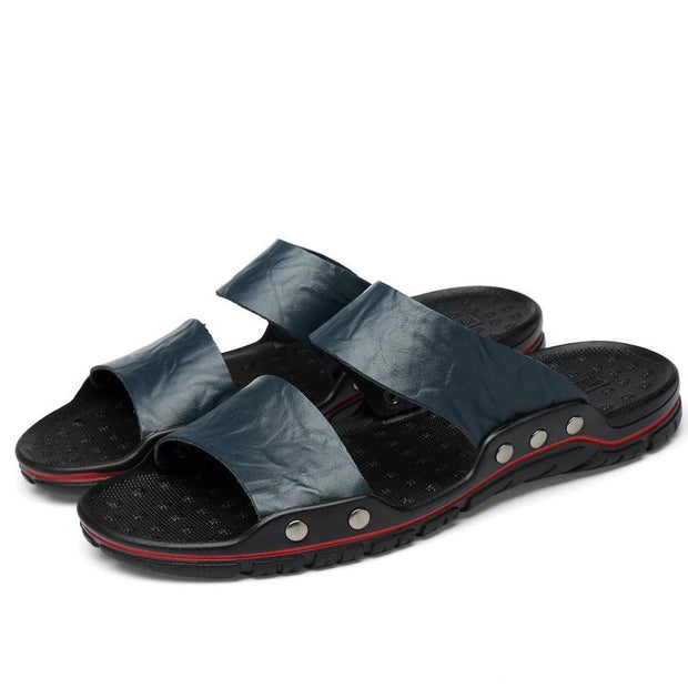 Men's Summer Flip Flops Rubber Slippers Comfortable Leather Sandals Outdoor Beach Slippers